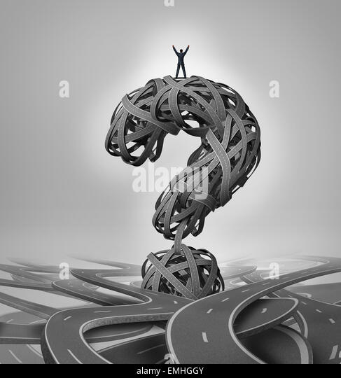 Solution road business concept as a businessman standing with arms raised in victory on a group of roads shaped - Stock-Bilder