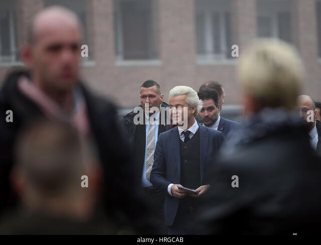 South Holland, Netherlands. 18th Feb, 2017. The Dutch rightwing populist and leader of the Partij voor de Vrijheid - Stock Image