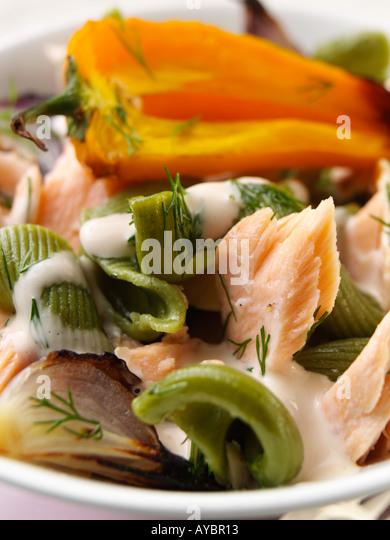 Salmon Pasta Salad - Stock Image