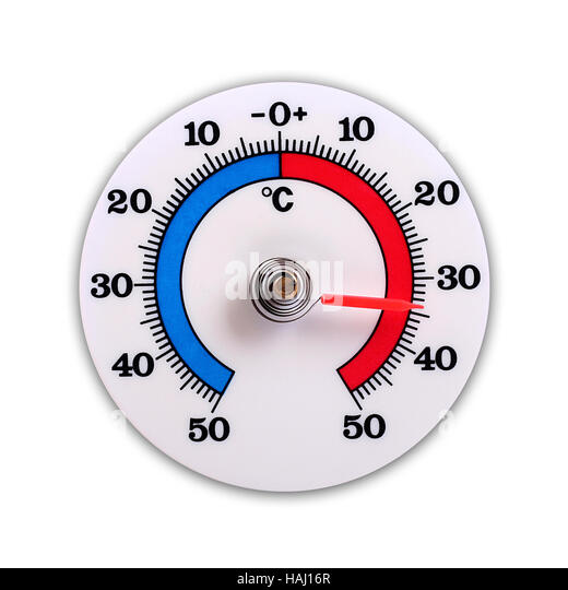 weather thermometer isolated on white background - Stock Image