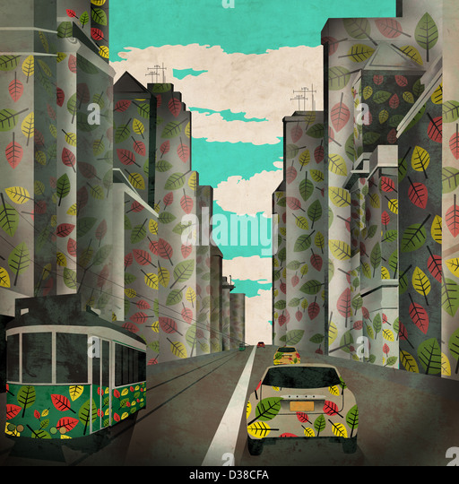 Illustrative image of vehicles and buildings with leaves design representing eco city - Stock Image