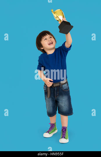 Boy Award Reward Playful Kid Little Won Concept - Stock Image