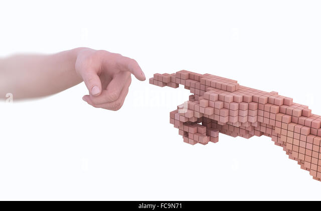 Reality vs simulation - real human hand and it's virtual version made out of voxels - Stock-Bilder