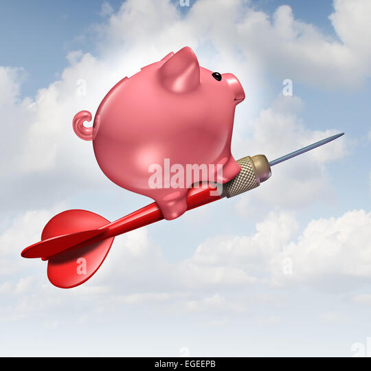 Budget goal and financial advice business concept as a piggybank character riding a red dart as a financial success - Stock-Bilder