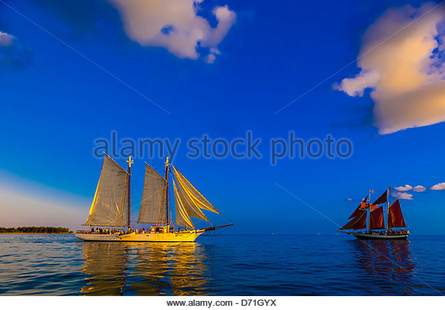 Schooner Western Union and the Jolly Rover II sailing off Key West, Florida Keys, Florida USA - Stock Image