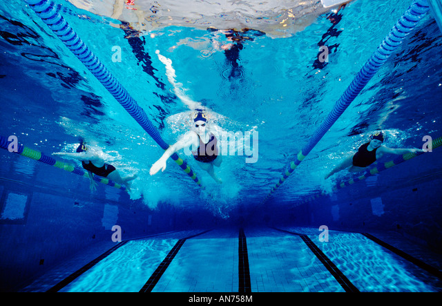 A Female Swim Team Practices At Mount Lebanon High School, Pittsburgh, Pennsylvania, Usa., - Stock Image