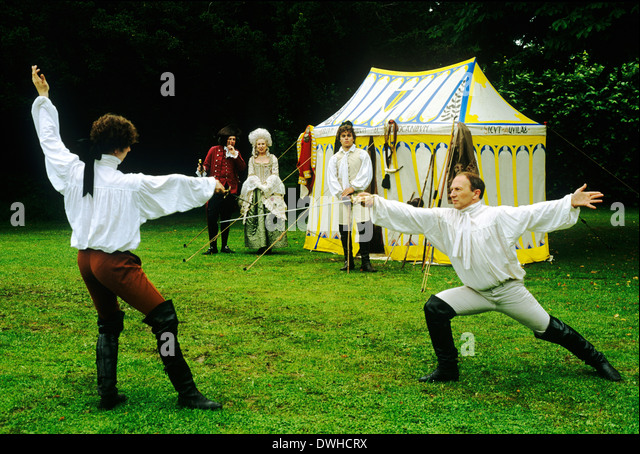 English Regency Period Duellists, early 19th century, historical re-enactment, duel with swords England UK duelist - Stock Image