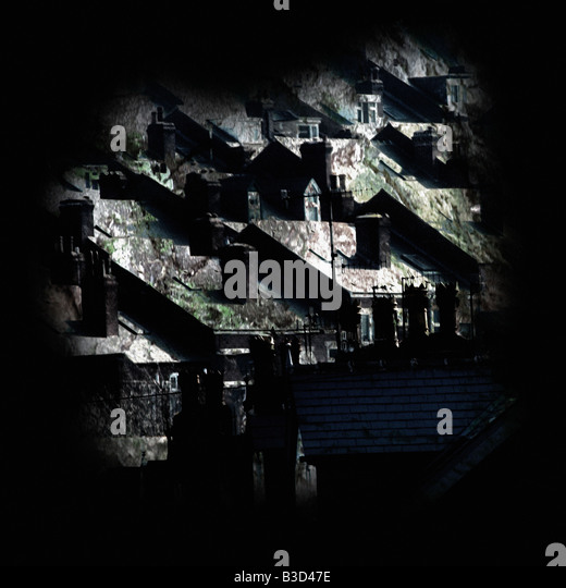 Dark Urban Houses - Stock Image