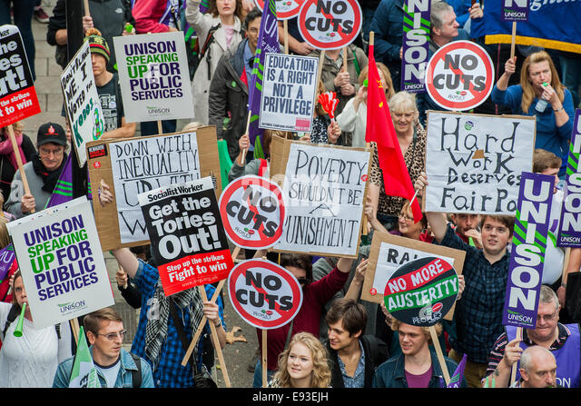 London, UK. 18th October, 2014. Britain needs a pay rise - A march organised by the TUC to demand fairer and pay - Stock Image