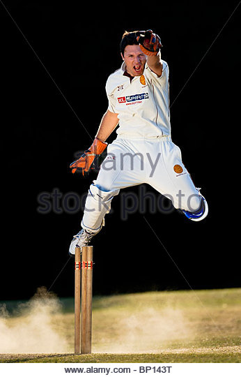 Wicket keeper celebrates stumping. - Stock Image