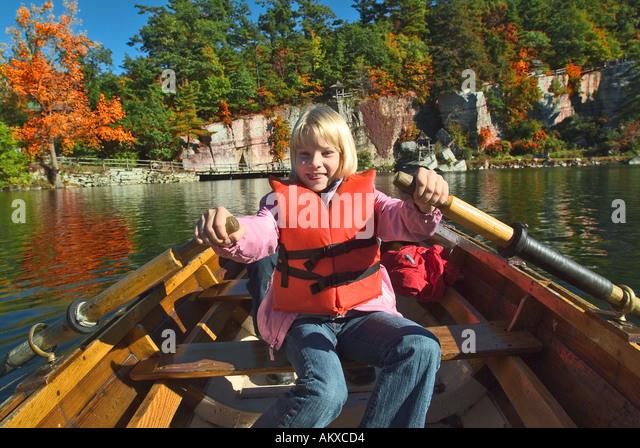 Rowboat Fun Catskills New York State - Stock Image
