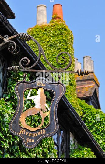Rye, East Sussex, England, UK. Pub sign - the Mermaid Inn - Stock Image