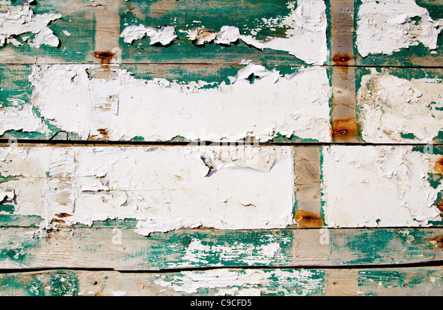 grunge texture wood painter in white and green - Stock Image