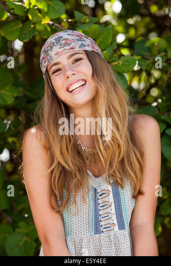 Teenage girl laughing - Stock Image