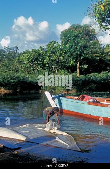 Nicaragua Miskito Coast Sandy Bay Indian vilage - Stock Image