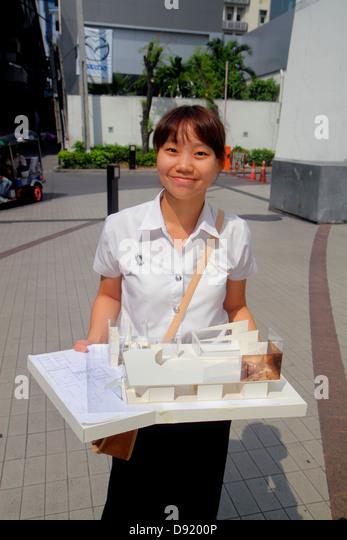 Thailand Bangkok Pathum Wan Rama 1 Road Asian teen girl student architect scale model building design - Stock Image