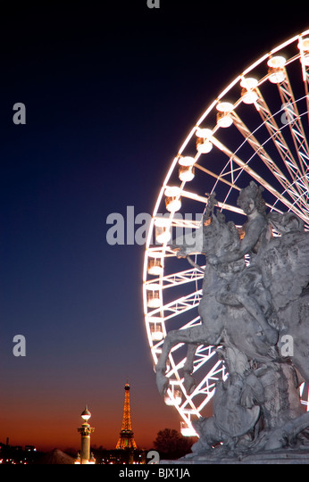 Paris, France, Christmas Lighting on Street, Place de la COncorde, Public Sculpture, 'Mercury on a Winged Horse' - Stock Image