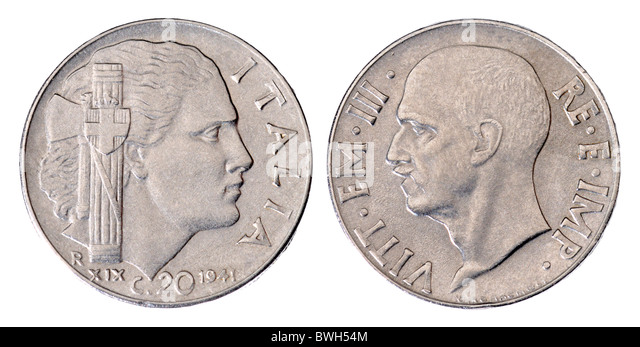 Italian 20c coin from 1941 showing head of King Vittorio Emanuelle III - Stock Image