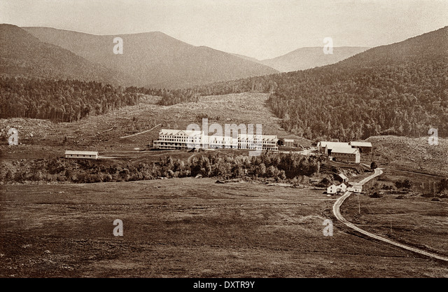 Glen House, a resort in Pinkham Notch of the White Mountains, New Hampshire, 1870s. - Stock Image