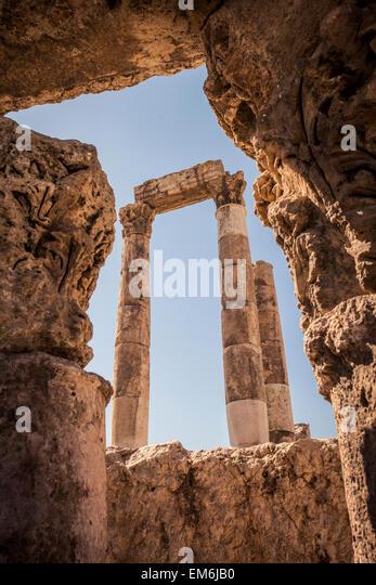 Roman Citadel in Amman, Jordan - Stock Image
