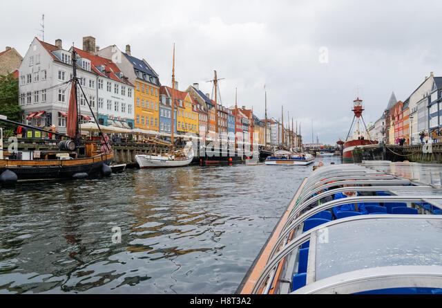 Nyhavn canal in Copenhagen, Denmark - Stock Image