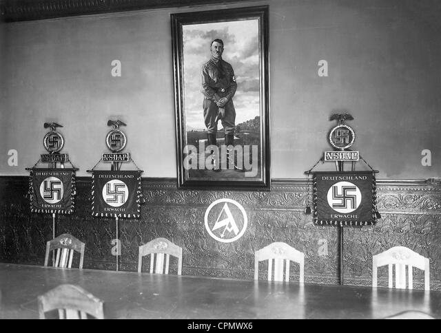 Flag Hall in the Brown House in Munich, 1933 - Stock Image
