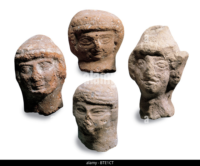 ASHERA, THE CNAANITE FERTILITY GODDESS. CLAY FIGURINES DATING FROM C. 9 - 8TH.C. BC. FOUND IN THE CITY OF DAVID - Stock Image