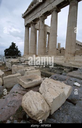 Greece Athens Acropolis Museum The Parthenon dedicated to goddess Athena 447 B.C. - Stock Image
