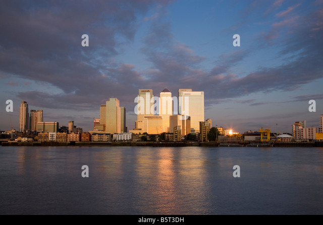 UK London Canary Wharf Financial district viewed over the River Thames - Stock Image