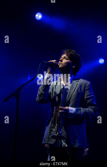 Zach Condon of Beirut performs during the Green Man festival at Glanusk Park, Brecon, Wales. - Stock Image