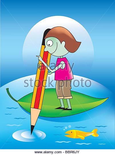 Boy On A Leaf Raft With Pencil - Stock-Bilder