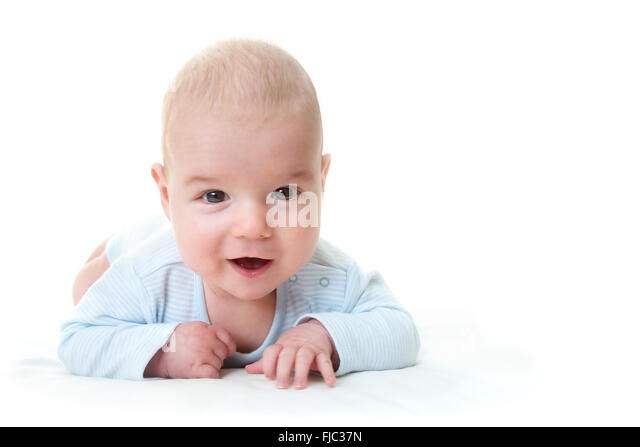three month old isolated baby - Stock Image