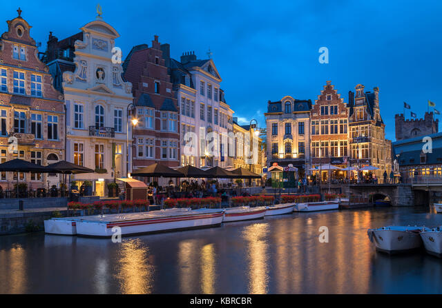 The city of Ghent in Belgium. Founded in the 10th century, it became the capital of the medieval principality of - Stock Image