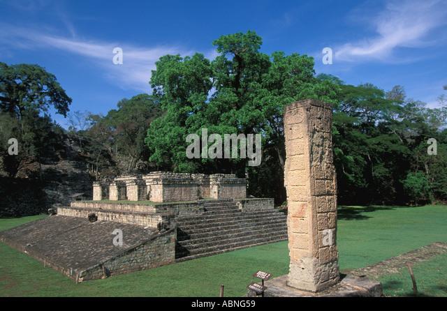 Honduras Copan Ruinas horizontal Mayan ruins Ballcourt Area Stela Temple Platform Maya art history - Stock Image