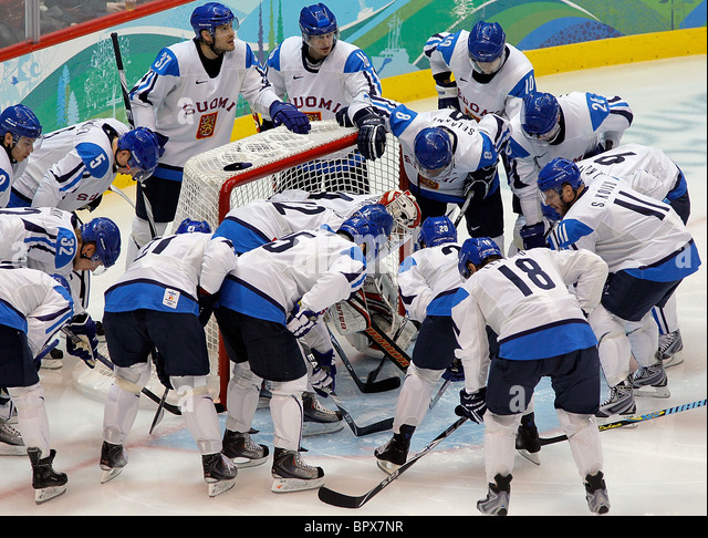 Vancouver 2010: Men's ice hockey, Finland 5-3 Slovakia - Stock Image