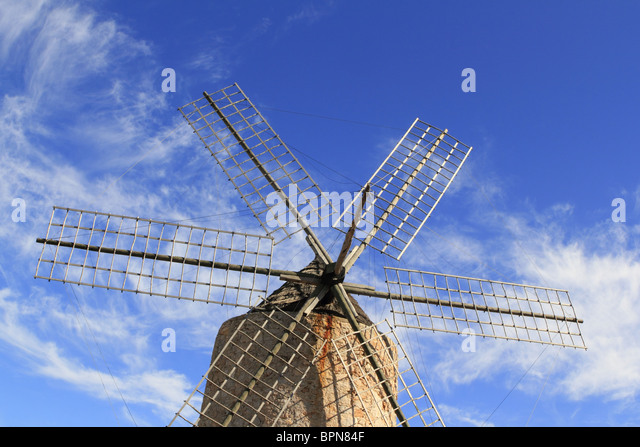 Salt windmill traditional Formentera Ibiza Balearic islands - Stock Image