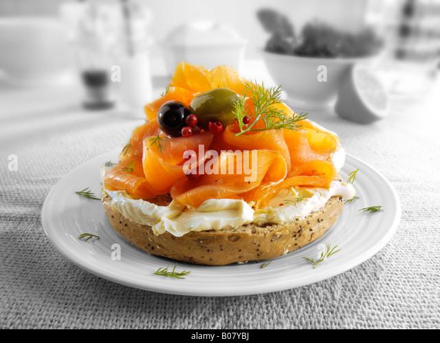 Smoked salmon cream cheese bagel - Stock Image