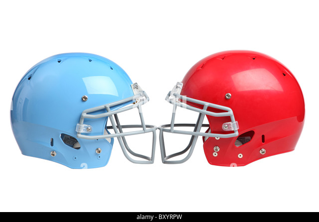 Two football helmets on white background - Stock Image