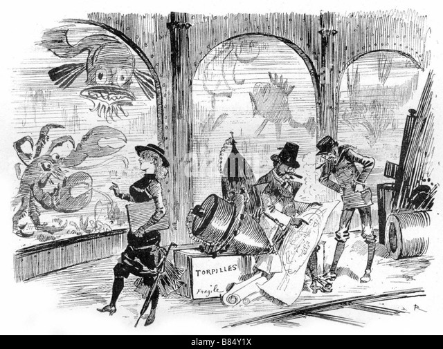 Submarine City , illustrations de Robida - Stock Image