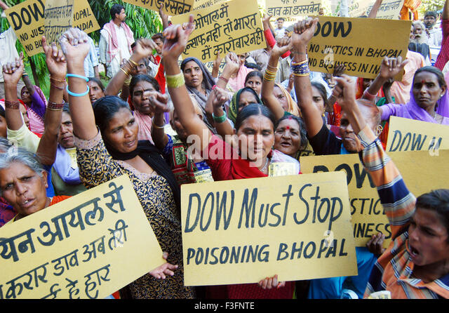 Survivors and relatives of Bhopal Gas Tragedy protest in front of Dow Chemical Company ; Bombay Mumbai ; Maharashtra - Stock Image