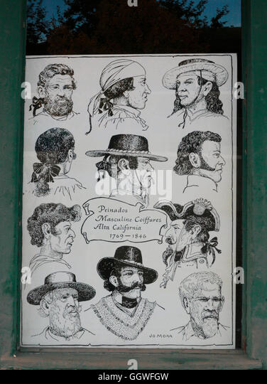 Poster of old hair styles at the historic PACIFIC HOUSE is now a museum  - MONTEREY, CALIFORNIA - Stock-Bilder