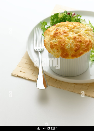 Leek and Goats Cheese Souffle - Stock Image