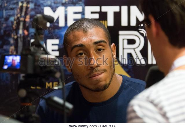 Paris, France. 26th Aug, 2016. French sprinter Jimmy Vicaut takes part in a press conference ahead of the Diamond - Stock Image