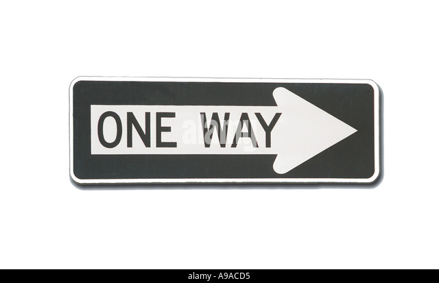 One way road sign with white background - Stock Image