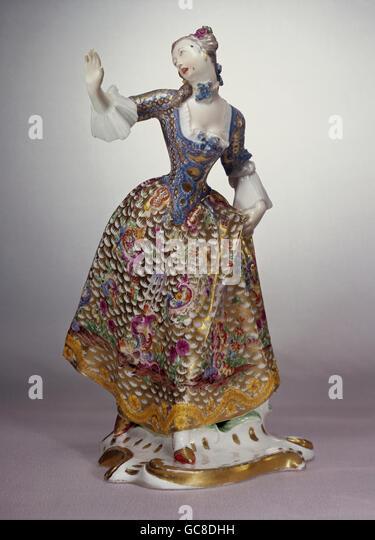 fine arts, porcelain, figures, Leda, Franz Anton Bustelli, Nymphenburg Porcelain Manufactory, circa 1760, Bavarian - Stock Image