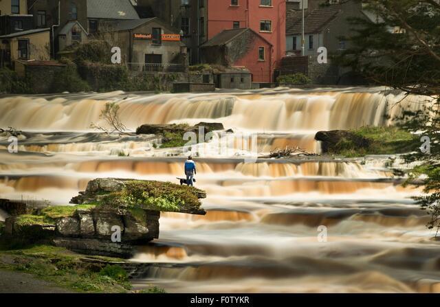 Man with dog, Falls, Ennistymon, Clare, Ireland - Stock Image