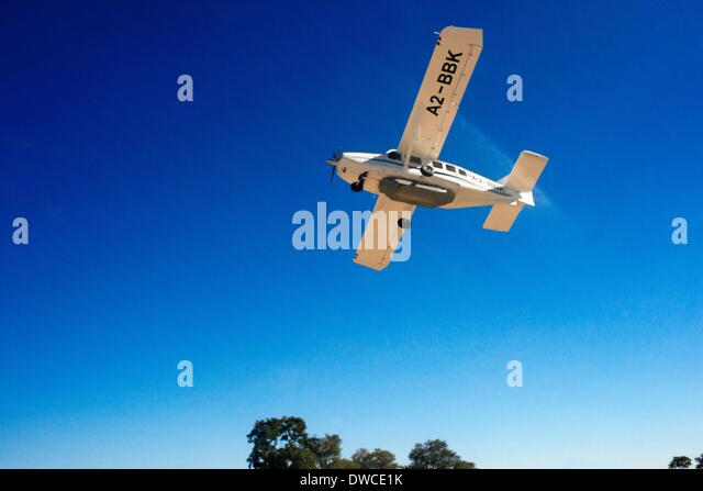 Internal flights in light aircraft CESNA between different camps in Botswana. May 2013. - Stock Image