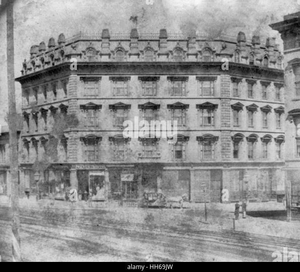 Nucleus Hotel, corner 3rd and Market Streets, San Francisco, California   1866 - Stock Image