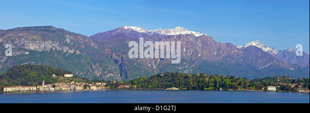 Panoramic view of Bellagio, Lake Como in spring sunshine, Lombardy, Italian Lakes, Italy, Europe - Stock Image