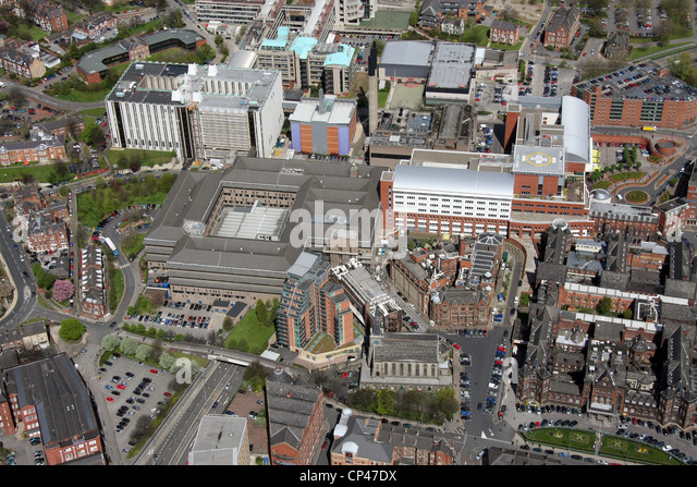 Aerial view of Leeds General Infirmary, LGI - Stock Image
